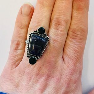 Jewelry - Sterling Silver Natural Amethyst Onyx Ring